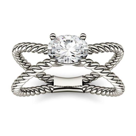 0.90 CTW DEW Oval Forever One Moissanite Split Shank Fashion Ring 14K White Gold