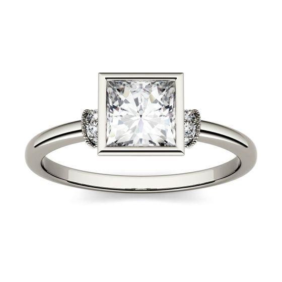 1.04 CTW DEW Square Forever One Moissanite Bezel Set Fashion Ring 14K White Gold