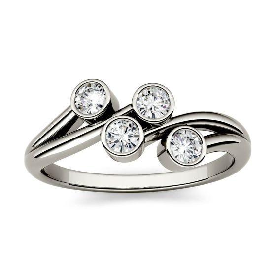 0.40 CTW DEW Round Forever One Moissanite Bezel Set Four Stone Fashion Ring 14K White Gold