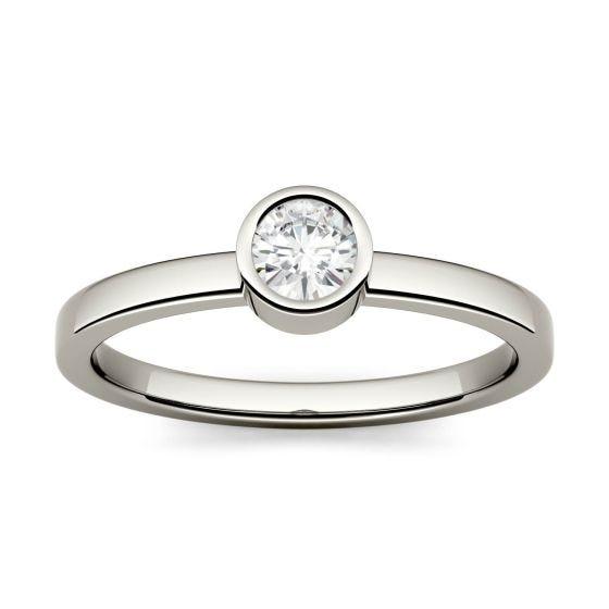0.23 CTW DEW Round Forever One Moissanite Bezel Set Fashion Ring 14K White Gold