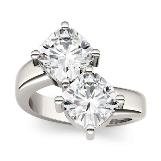 4.80 CTW DEW Cushion Forever One Moissanite Two Stone Ring 14K White Gold