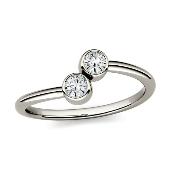 0.20 CTW DEW Round Forever One Moissanite Bezel Set Two Stone Fashion Ring 14K White Gold