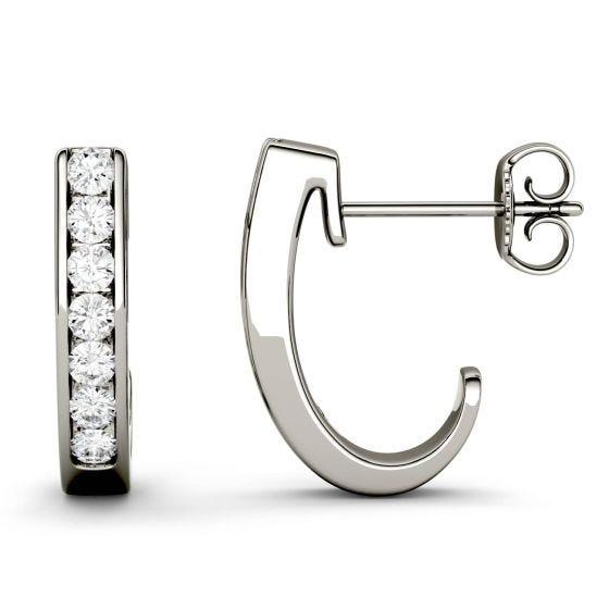 0.42 CTW DEW Round Forever One Moissanite J-Hoop Earrings 14K White Gold