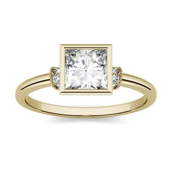 1.04 CTW DEW Square Forever One Moissanite Bezel Set Fashion Ring 14K Yellow Gold