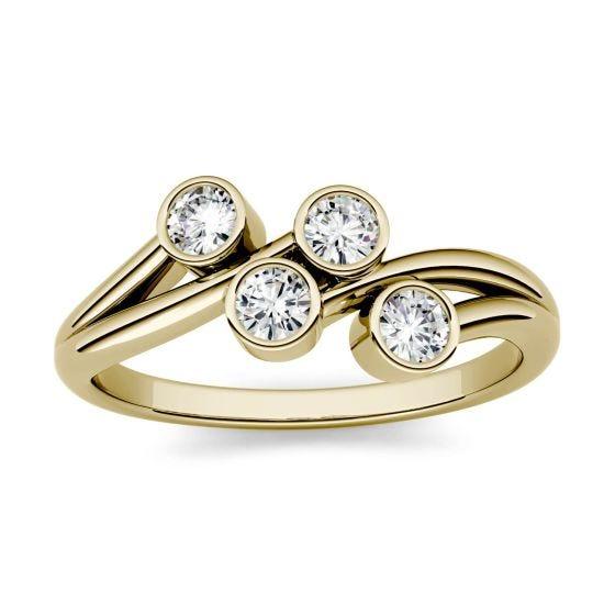 0.40 CTW DEW Round Forever One Moissanite Bezel Set Four Stone Fashion Ring 14K Yellow Gold