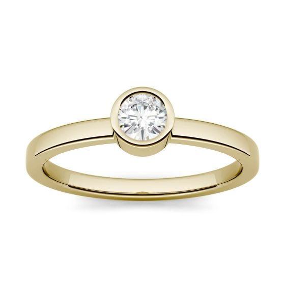 0.23 CTW DEW Round Forever One Moissanite Bezel Set Fashion Ring 14K Yellow Gold
