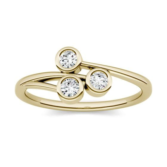 0.30 CTW DEW Round Forever One Moissanite Three Stone Bezel Set Ring 14K Yellow Gold