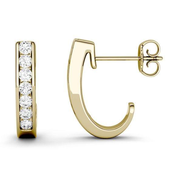 0.42 CTW DEW Round Forever One Moissanite J-Hoop Earrings 14K Yellow Gold