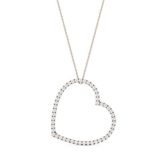 1.00 CTW DEW Round Forever One Moissanite Oversized Heart Necklace 14K Rose Gold
