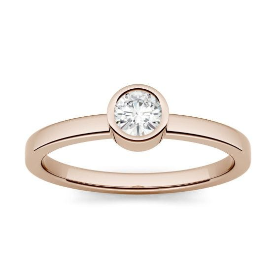 0.23 CTW DEW Round Forever One Moissanite Bezel Set Fashion Ring 14K Rose Gold