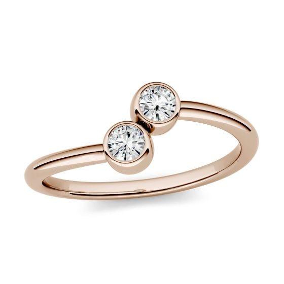 0.20 CTW DEW Round Forever One Moissanite Bezel Set Two Stone Fashion Ring 14K Rose Gold