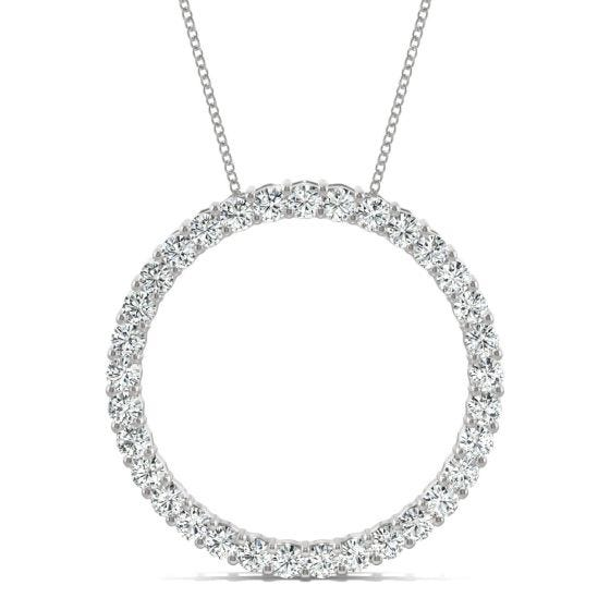 0.49 CTW DEW Round Forever One Moissanite Shared Prong Circle Necklace 14K White Gold
