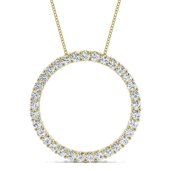 0.49 CTW DEW Round Forever One Moissanite Shared Prong Circle Necklace 14K Yellow Gold
