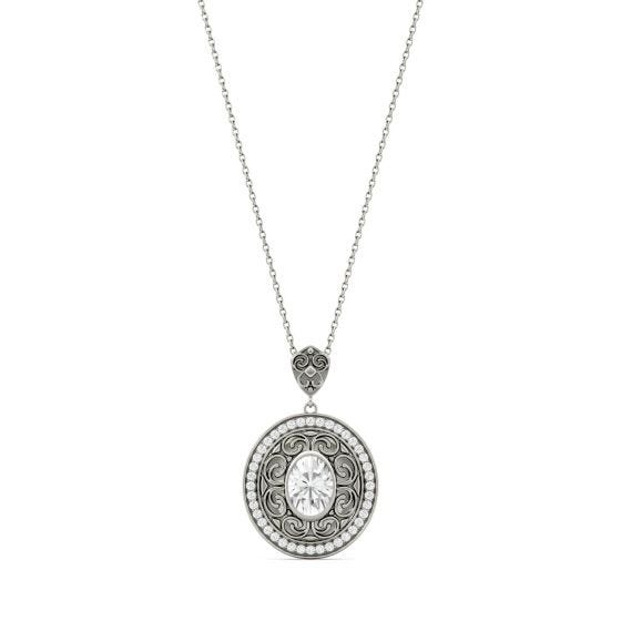 1.70 CTW DEW Oval Forever One Moissanite Oval with Scroll Detail Necklace 14K White Gold