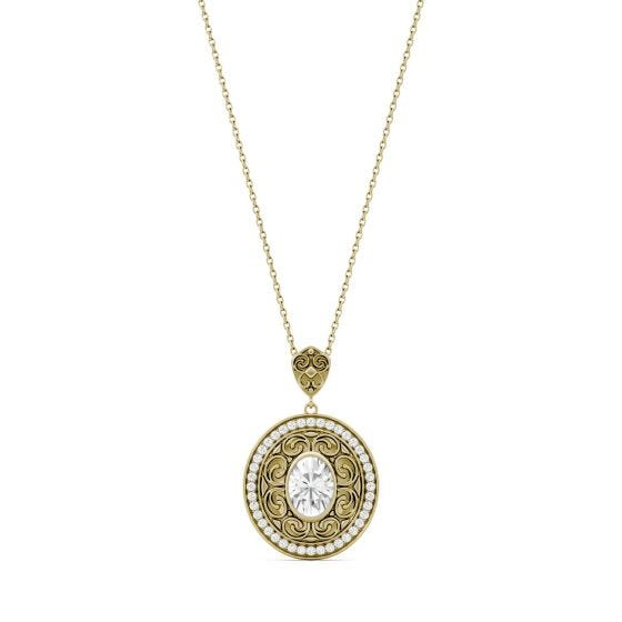 1.70 CTW DEW Oval Forever One Moissanite Oval with Scroll Detail Necklace 14K Yellow Gold