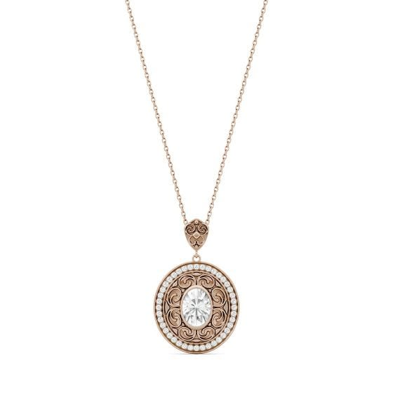 1.70 CTW DEW Oval Forever One Moissanite Oval with Scroll Detail Necklace 14K Rose Gold