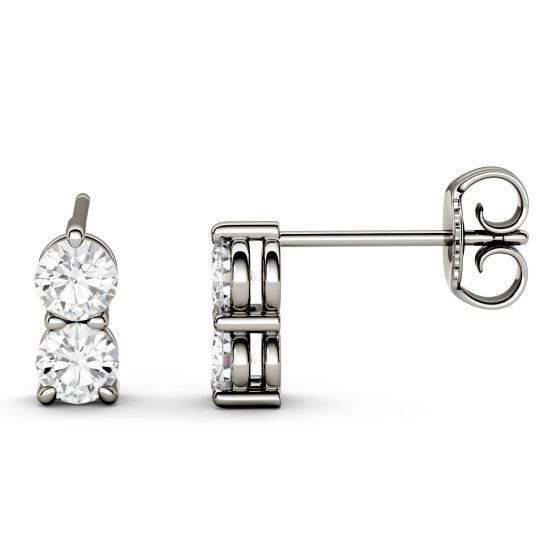 0.92 CTW DEW Round Forever One Moissanite Two Stone Drop Earrings 14K White Gold