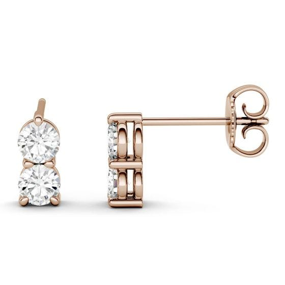 0.92 CTW DEW Round Forever One Moissanite Two Stone Drop Earrings 14K Rose Gold