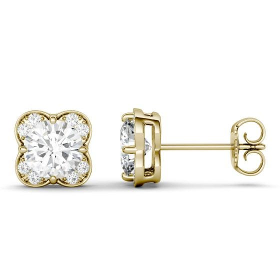1.76 CTW DEW Round Forever One Moissanite Floral Earrings 14K Yellow Gold