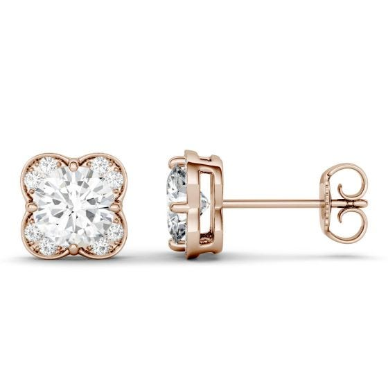 1.76 CTW DEW Round Forever One Moissanite Floral Earrings 14K Rose Gold
