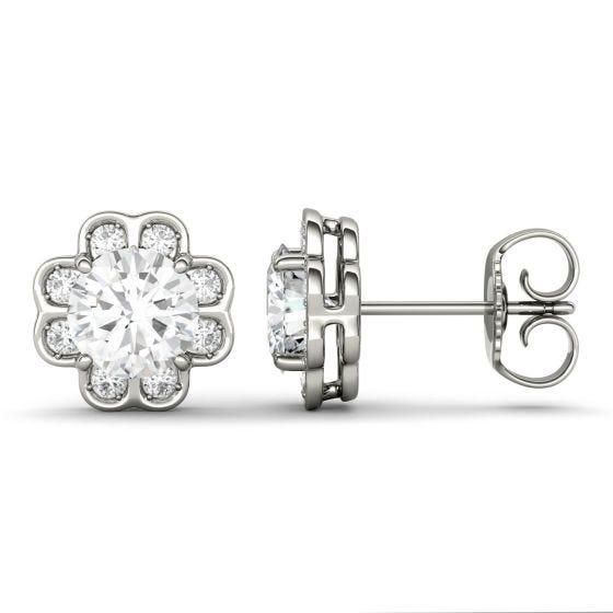 1.76 CTW DEW Round Forever One Moissanite Flower Stud Earrings 14K White Gold