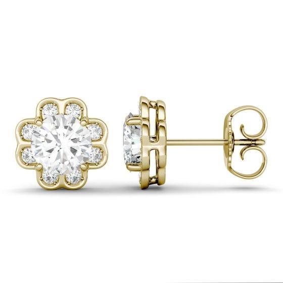 1.76 CTW DEW Round Forever One Moissanite Flower Stud Earrings 14K Yellow Gold