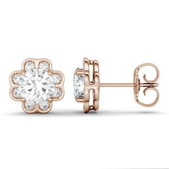 1.76 CTW DEW Round Forever One Moissanite Flower Stud Earrings 14K Rose Gold