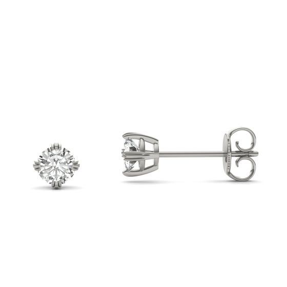 0.46 CTW DEW Round Forever One Moissanite Triple Prong Solitaire Stud Earrings 14K White Gold