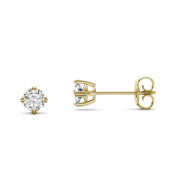 0.46 CTW DEW Round Forever One Moissanite Triple Prong Solitaire Stud Earrings 14K Yellow Gold