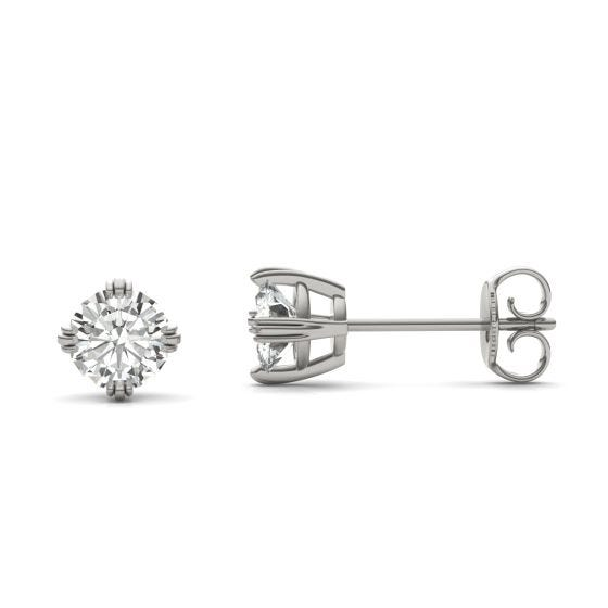 1.00 CTW DEW Round Forever One Moissanite Triple Prong Solitaire Stud Earrings 14K White Gold