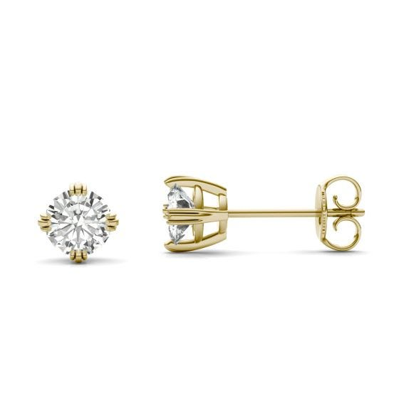 1.00 CTW DEW Round Forever One Moissanite Triple Prong Solitaire Stud Earrings 14K Yellow Gold