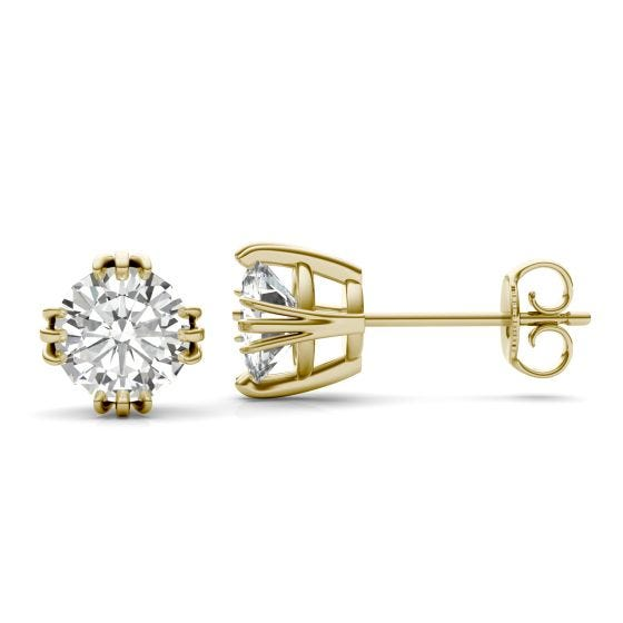 2.00 CTW DEW Round Forever One Moissanite Triple Prong Solitaire Stud Earrings 14K Yellow Gold
