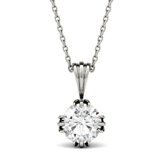 0.60 CTW DEW Round Forever One Moissanite Solitaire Stud Necklace 14K White Gold