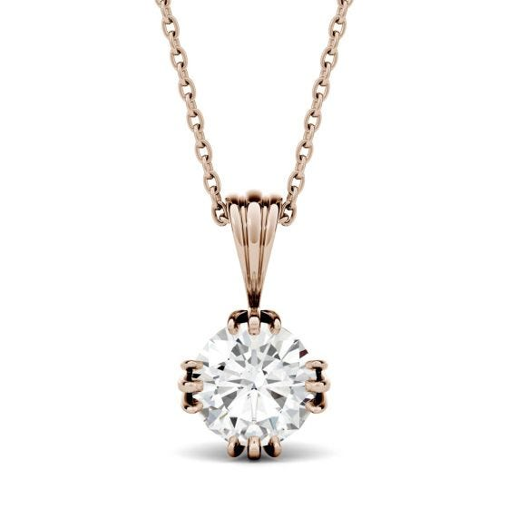 1.00 CTW DEW Round Forever One Moissanite Tripe Prong Solitaire Pendant Necklace 14K Rose Gold