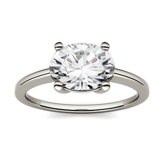 0.90 CTW DEW Oval Forever One Moissanite East-West Solitaire Engagement Ring 14K White Gold