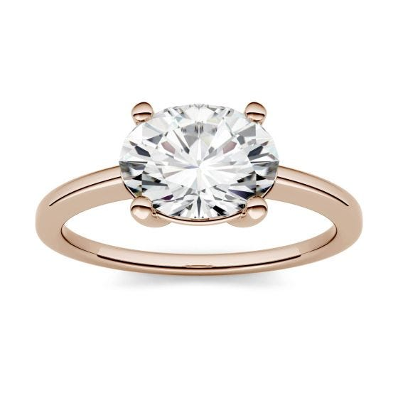 0.90 CTW DEW Oval Forever One Moissanite East-West Solitaire Engagement Ring 14K Rose Gold