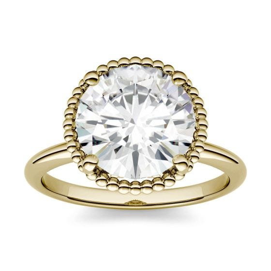 3.60 CTW DEW Round Forever One Moissanite Beaded Solitaire Engagement Ring 14K Yellow Gold