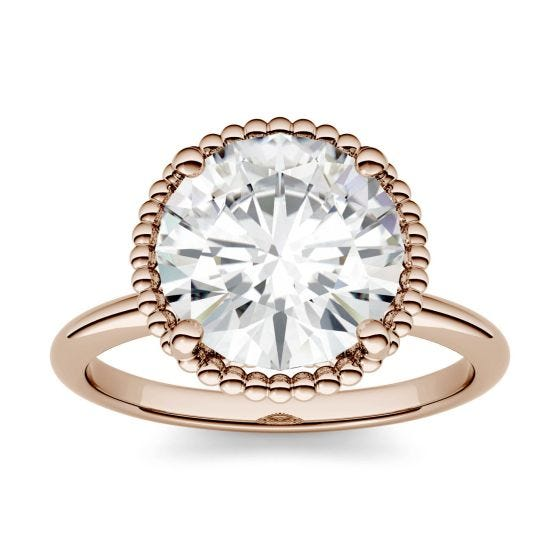 0.60 CTW DEW Round Forever One Moissanite Beaded Solitaire Engagement Ring 14K Rose Gold