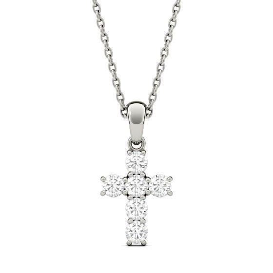 0.36 CTW DEW Round Forever One Moissanite Cross Pendant Necklace 14K White Gold