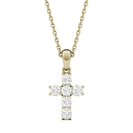 0.36 CTW DEW Round Forever One Moissanite Cross Pendant Necklace 14K Yellow Gold
