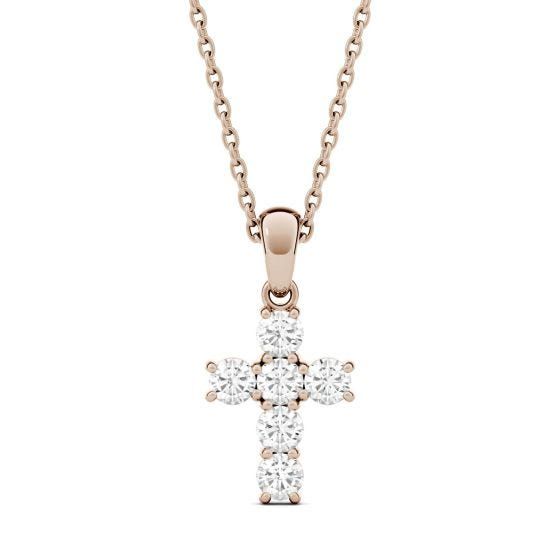 0.36 CTW DEW Round Forever One Moissanite Cross Pendant Necklace 14K Rose Gold