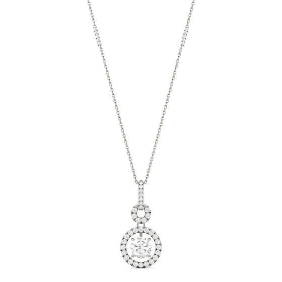 1.23 CTW DEW Round Forever One Moissanite Drop Halo Necklace 14K White Gold