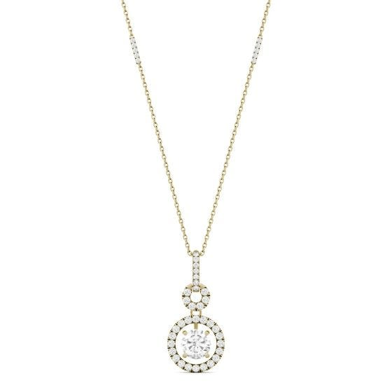 1.23 CTW DEW Round Forever One Moissanite Drop Halo Necklace 14K Yellow Gold