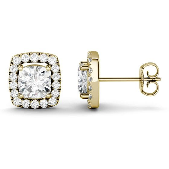 2.56 CTW DEW Cushion Forever One Moissanite Halo Stud Earrings 14K Yellow Gold