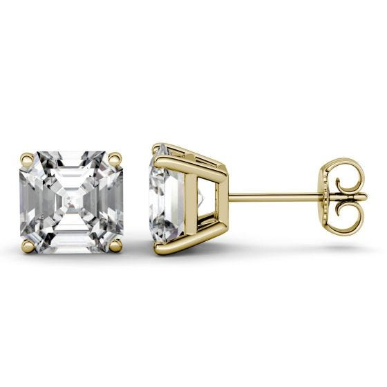 6.28 CTW DEW Asscher Forever One Moissanite Four Prong Solitaire Stud Earrings 14K Yellow Gold