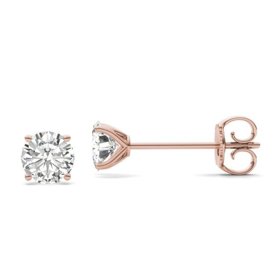 1.60 CTW DEW Round Forever One Moissanite Four Prong Martini Solitaire Stud Earrings 14K Rose Gold