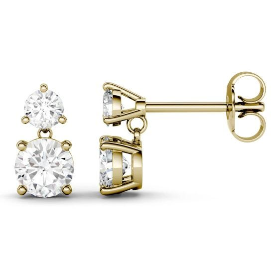 2.06 CTW DEW Round Forever One Moissanite Two Stone Drop Earrings 14K Yellow Gold