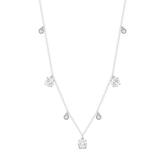 1.08 CTW DEW Round Forever One Moissanite Necklace 14K White Gold