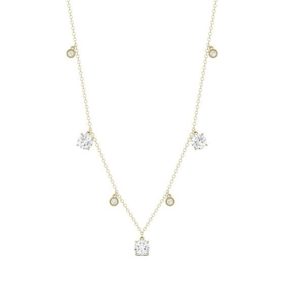1.08 CTW DEW Round Forever One Moissanite Fixed Station Necklace 14K Yellow Gold