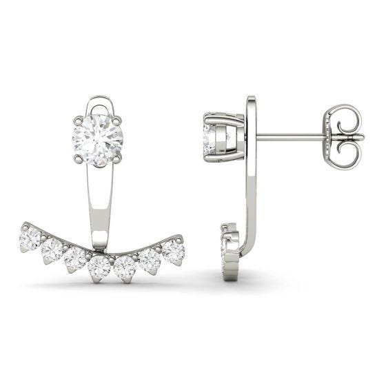 1.08 CTW DEW Round Forever One Moissanite Peek A Boo Drop Earrings 14K White Gold